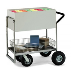 Medium Solid Metal Mail Distribution and File Cart with Cushion Grip Handle.