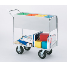 "Long Solid Metal Mail Distribution Cart with 8"" Tires"