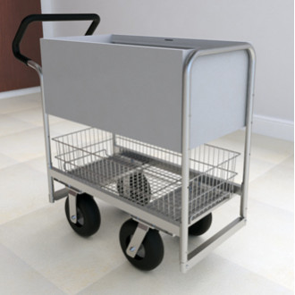 Ergo Handle Solid Metal Mail Delivery Cart with 2 Different Wheel Options.