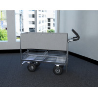"Long Solid Metal Mail Delivery and File Cart with 8"" Tires and Easy Push Handle"