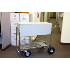 Charnstrom Mail and Office Carts Long Solid Metal Mail Delivery Cart with Locking Top