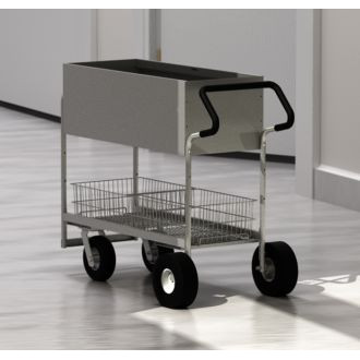 Charnstrom Mail and Office Carts Long Solid Metal Mail Distribution Cart with Easy Push Handle