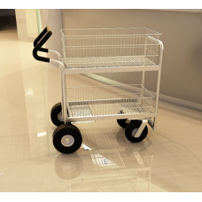 Medium Wire Basket Mail Delivery Cart with Easy Push Handle and Caster Options