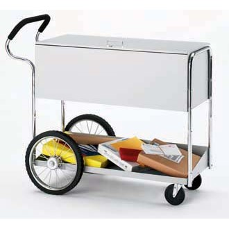 """Mail Room and Office Carts Long Solid Metal Mail Delivery Cart with 16"""" Rear Tires and Cushioned Ergo Handle"""