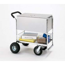Medium Solid Metal Mail Delivery and File Cart with Cushion Grip Handle and Locking Top.