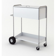 "52"" High Boy Long Solid Metal Mail Distribution Cart with Locking Top"