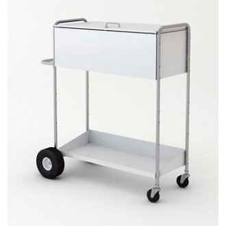"Charnstrom Mail Carts 52"" High Boy Long Solid Metal Mail Distribution Cart with Locking Top"