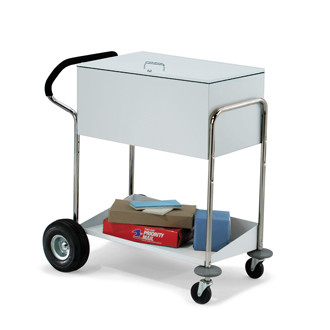 Security Medium Metal Mail and File Cart With Locking Top, Features Ergo Handle and Rear Air Tires