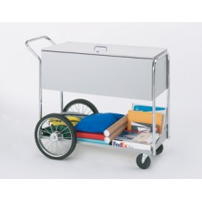 "Long Solid Metal Mail and File Cart with Locking Top and 16"" Rear Tires"