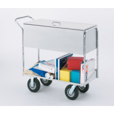 "Long Solid Metal Mail and File Cart with Locking top and 8"" Tires"