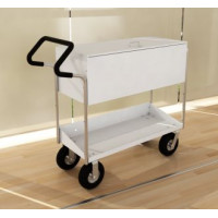 Long Solid Metal Mail and File Cart with Locking top and Easy Push Handle