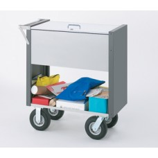 "Medium Solid Mail and File Cart with Locking Top and 8"" caster options"