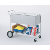 "Long Solid Metal Mail and File Cart with Locking Top and 10"" Rear Tires"