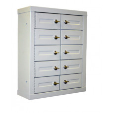 "Mail Room and Office Security Cabinets 5""D - 10 Door, Cell Phone Cabinet with Thumb Turn Latch"