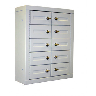 """9""""D - 10 Door, Cell Phone Cabinet with Thumb Turn Latch"""