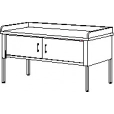 """Mail Room and Office Furniture 60""""W x 36""""D Standard Adjustable Height Table With Locking Sliding Doors & Dump Rails"""