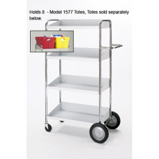 Warehouse, Mail Room and Office Carts Medium, Four Shelf Mobile Bin Mail Delivery Cart