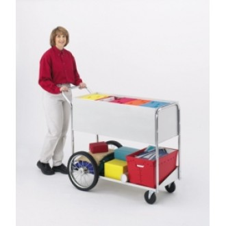 "Office and Mail Room Carts Long Solid Metal Mail Delivery Cart with 16"" Rear Tires"