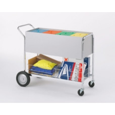 "Long Solid Metal Mail Distribution Cart with 10"" Rear Tires"