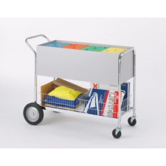 """Long Solid Metal Mail Distribution Cart with 10"""" Rear Tires"""