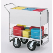 Medium Solid Metal Mail Delivery Cart with 2 Different Wheel Options.