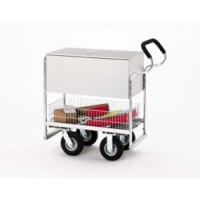 Medium Ergo Solid Metal Mail Delivery and File Cart with Locking Top and Caster Options