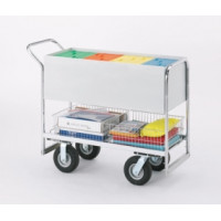 "Long Solid Metal Mail Delivery and File Cart with 8"" Tires"