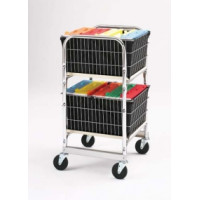 Compact Office Mail Distribution and File Cart with Two File Baskets