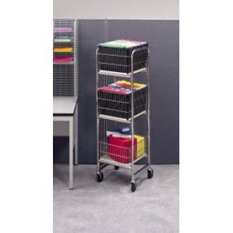 Office and Mail Center Carts Tall Compact Office Mail Distribution and File Cart