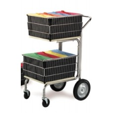 Mail Room and Office Carts Compact Wire Basket Mail Cart with 2 File Baskets