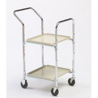 Charnstrom's Compact Office Mail Room Cart with 2 Shelves and Bolt In Casters