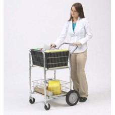 Compact Dual Handle Wire Basket Mail Delivery Cart