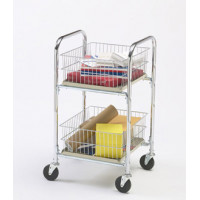 Compact Mail and Office Delivery Cart with Removable Parcel Baskets