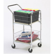 "Mail Room and Office Carts Compact Basket Mail Distribution Cart with Dual Handle and 4"" Casters"