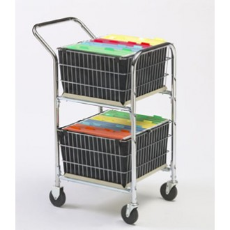 "Compact Basket Mail Delivery Cart with Double File Baskets and 4"" Casters."
