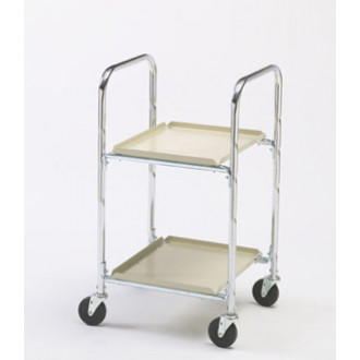 "Two Shelf Compact Office Mail Cart with 4"" Casters"