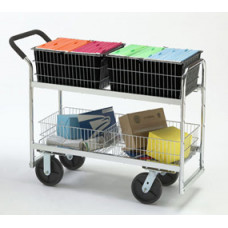 "Mail Room and Office Carts Long Wire-Basket Mail Distribution Cart with 8"" Casters"