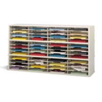 "Mail Room Furniture and Office Organizer - 60""W x 17""D, 48 Pocket Extra Deep Sorter with 14-1/2""W Shelves"