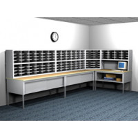 """L"" Shaped Mailroom furniture Station with 128 Legal Depth Adjustable Height Pockets with 36"" Deep Tables."