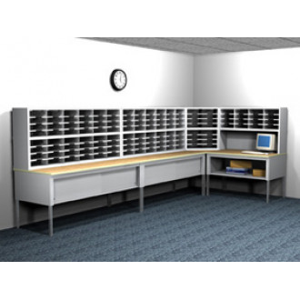 """""""L"""" Shaped Mail Room Furniture Station and Office Organizing Consoles with 128 Legal Depth Adjustable Height Pockets with 36"""" Deep Tables."""