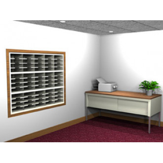 "Mail Room Console and Office Organizer 60""W, 60 pocket 12-3/4""D Open Back Sorter with 30"" Deep Table."