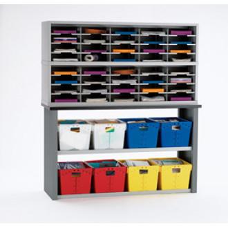Mail Room Furniture 40 Pocket Sorter with Postal Tote Storage
