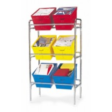"Mail Room Supplies Bulk Mail Sorter 34""W x 18""D Triple Tier Tote Rack"