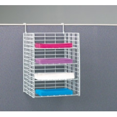 "Office Organizers and Mail Room Sorters 12""W, 4 Pocket Wire Mail Sorter with Partition Hooks - Legal Depth"