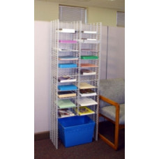 "Office Organizers and Mail Room Furniture 24""W, 22 Pocket Free Standing Wire Mail Sorter - Letter Depth"