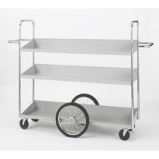 "Warehouse, Office and Mail Room Carts Extra Long Triple Decker Mail Distribution Cart with 16"" Center Tires"