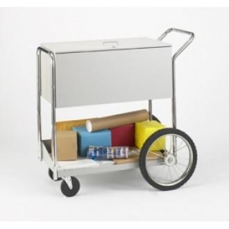"Medium Locking Solid Metal Mail Distribution Cart with 16"" Rear Wheels"
