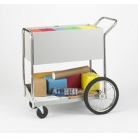 "Medium Solid Metal Mail Distribuition Cart with 16"" Rear Wheels"