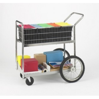 "Mail Room and Office Cart Medium Wire Mail Delivery and File Cart with 16"" Rear Wheels"
