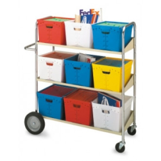 Mail Center Delivery Mail Carts Long, Three Shelf Mobile Bin Mail Distribution Cart
